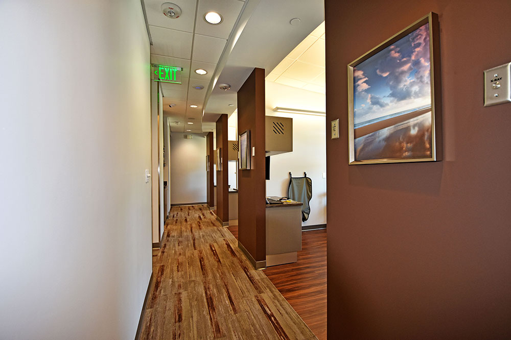 Hallway between open ops at Issaquah Premier Dental