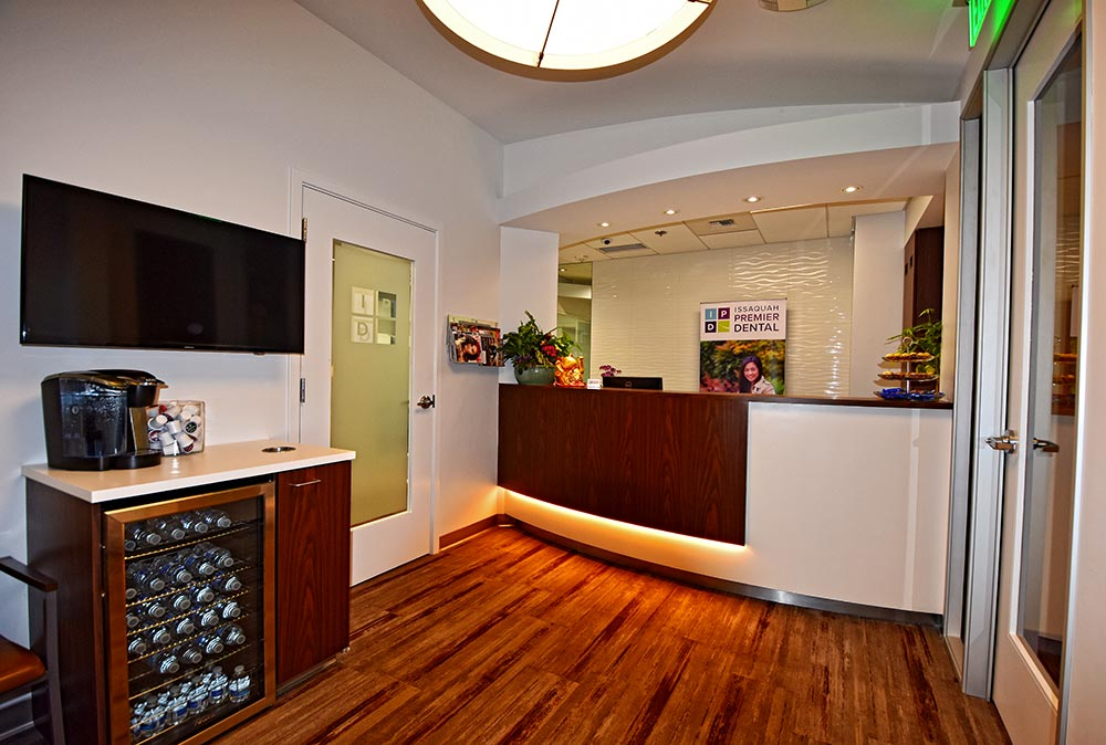 Bright reception area of Issaquah general practice dental renovation